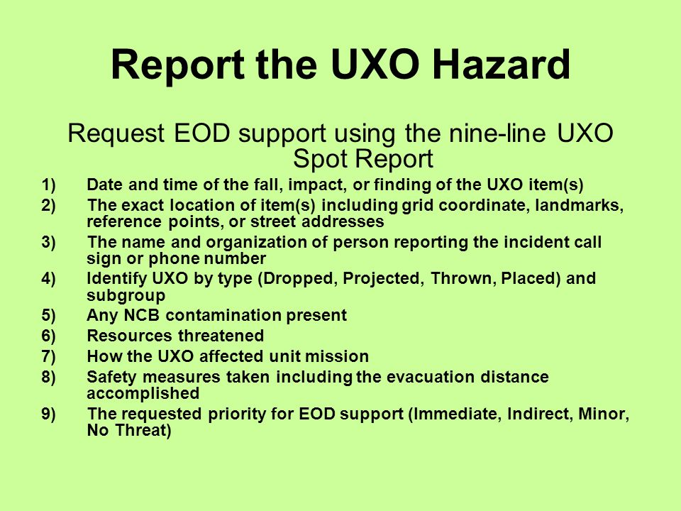React To Unexploded Ordnance Hazards Ppt Video Online Download
