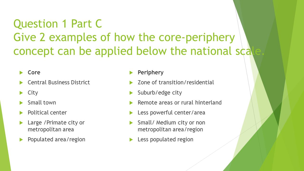 Question 1 Part C Give 2 examples of how the core-periphery concept can be applied below the national scale.