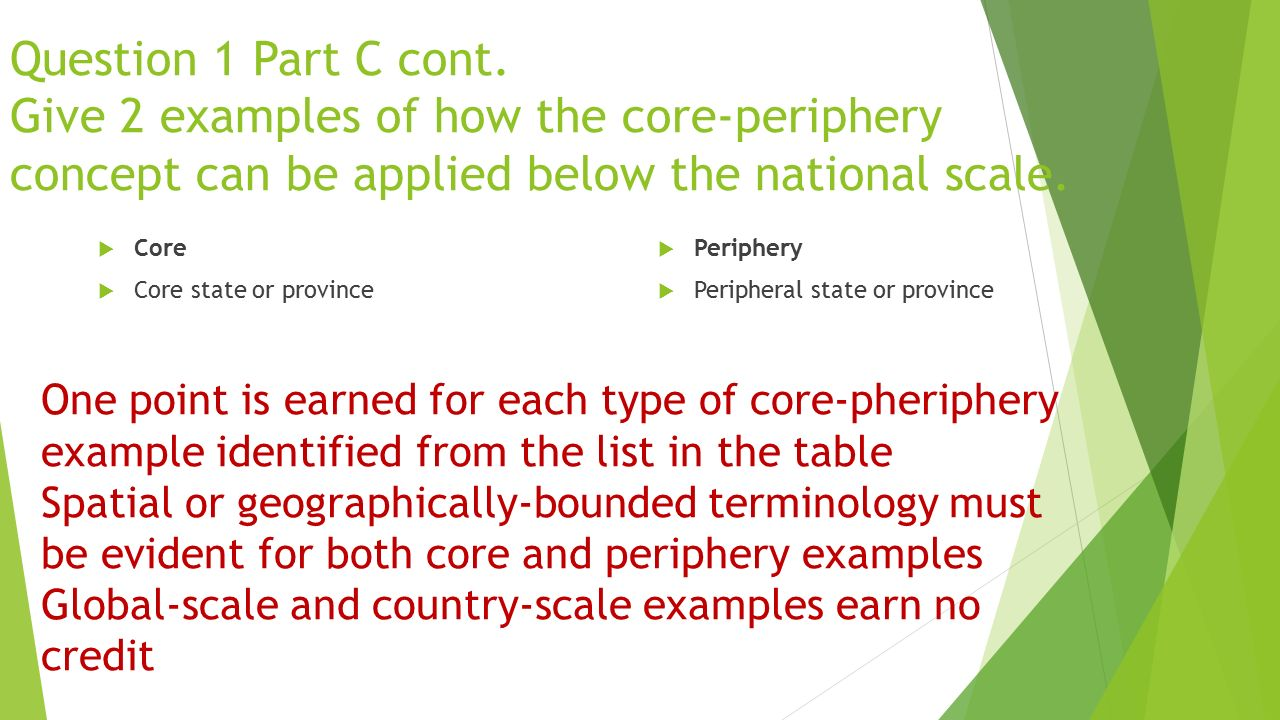 Question 1 Part C cont. Give 2 examples of how the core-periphery concept can be applied below the national scale.