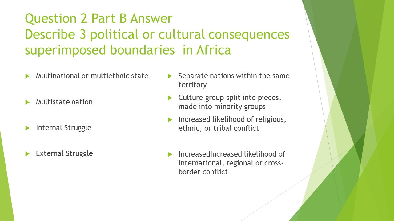 Question 2 Part B Answer Describe 3 political or cultural consequences superimposed boundaries in Africa