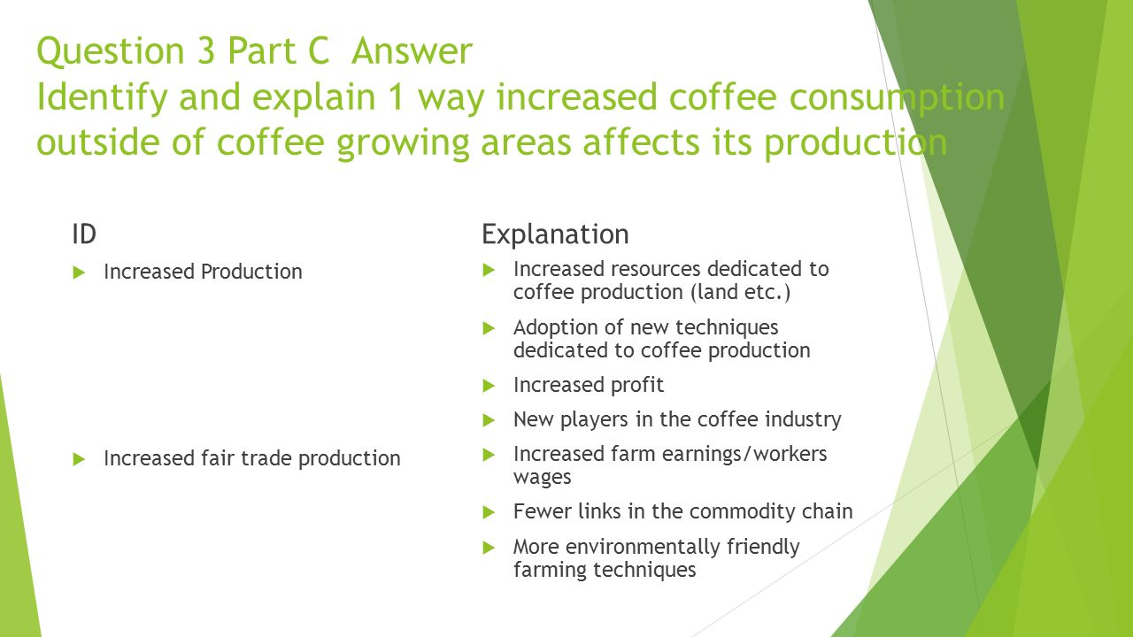 Question 3 Part C Answer Identify and explain 1 way increased coffee consumption outside of coffee growing areas affects its production