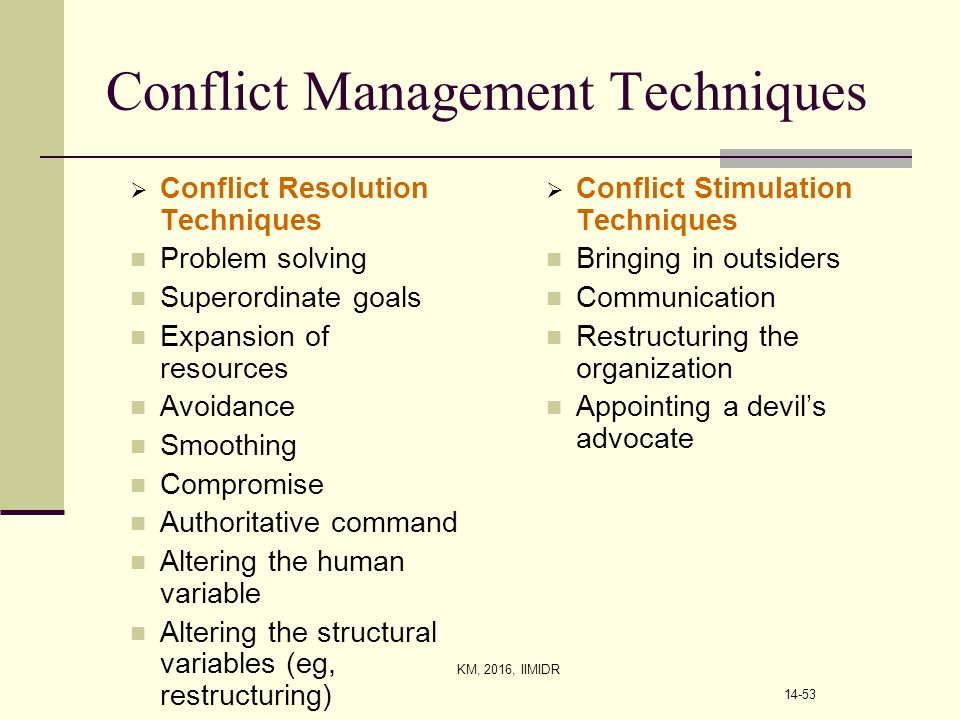 different methods of conflict resolution