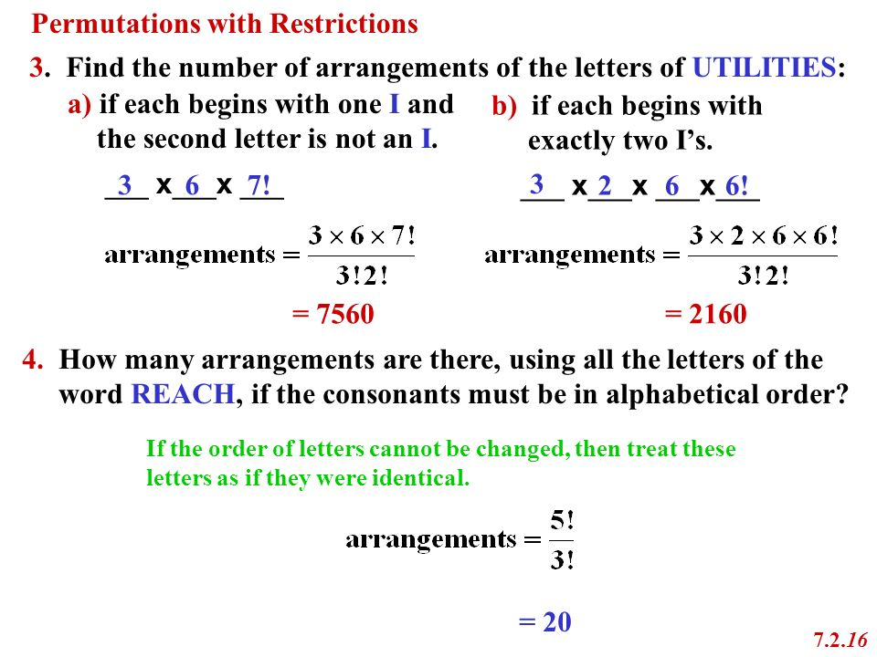 find a word using these letters permutations 7 2 chapter 7 combinatorics ppt 21706 | Permutations with Restrictions