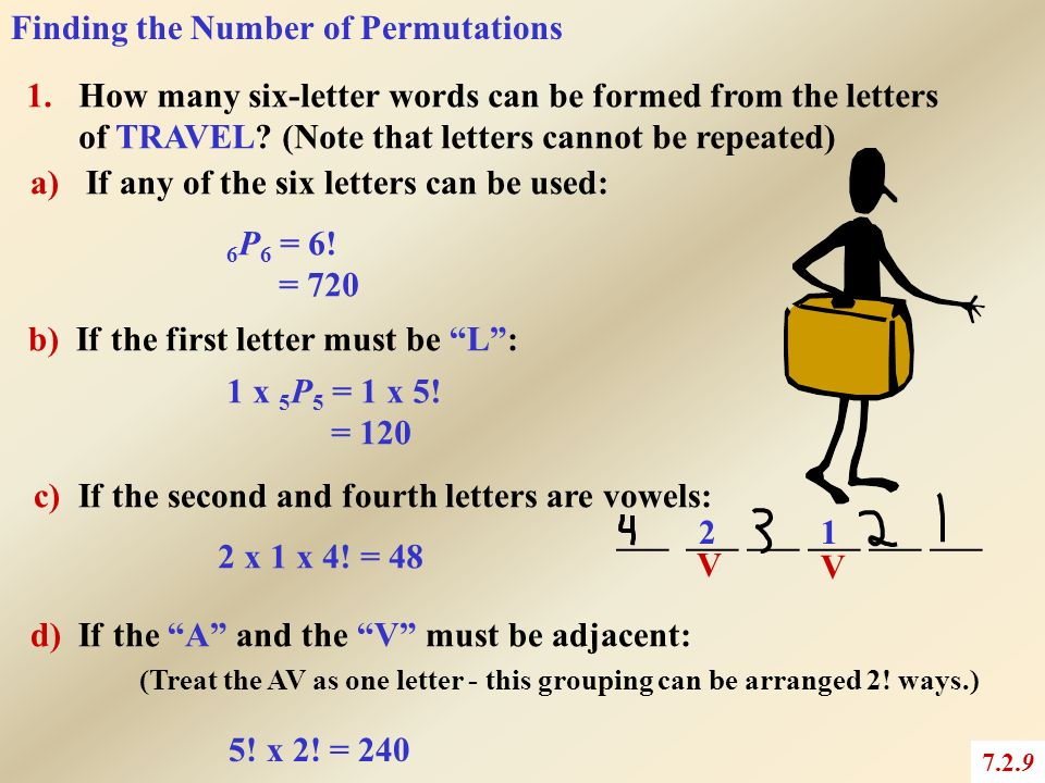 5 letter words with no repeating letters permutations 7 2 chapter 7 combinatorics ppt 18540