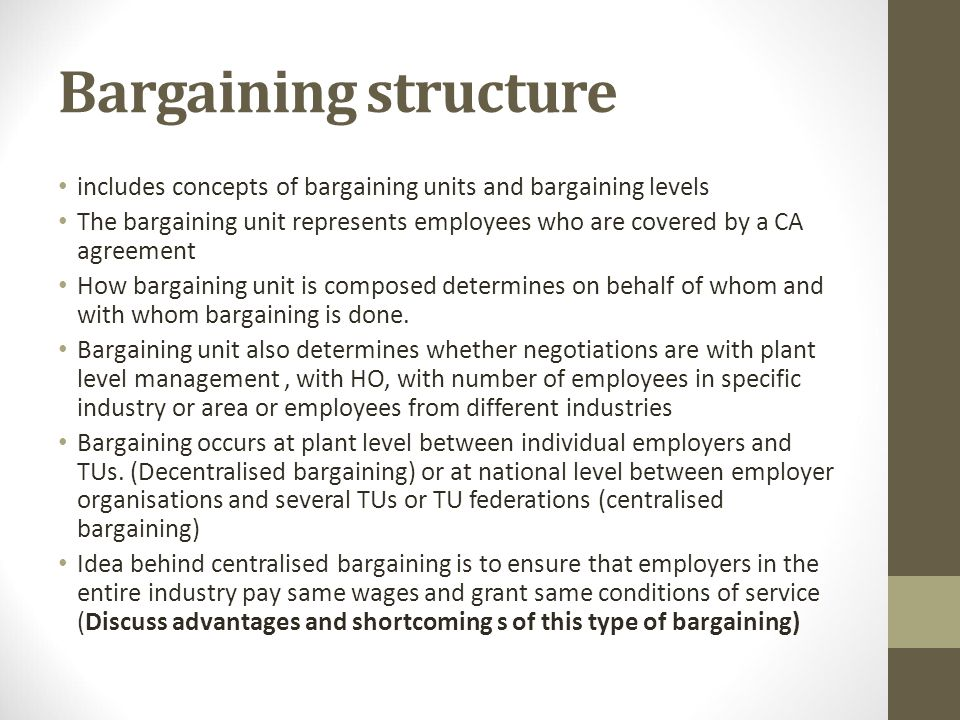 scenario in which management would prefer centralized bargaining Question: create two scenarios: one in which management would prefer centralized bargaining and one in whic create two scenarios: one in which management would prefer centralized bargaining and one in which the union would prefer centralized bargaining.
