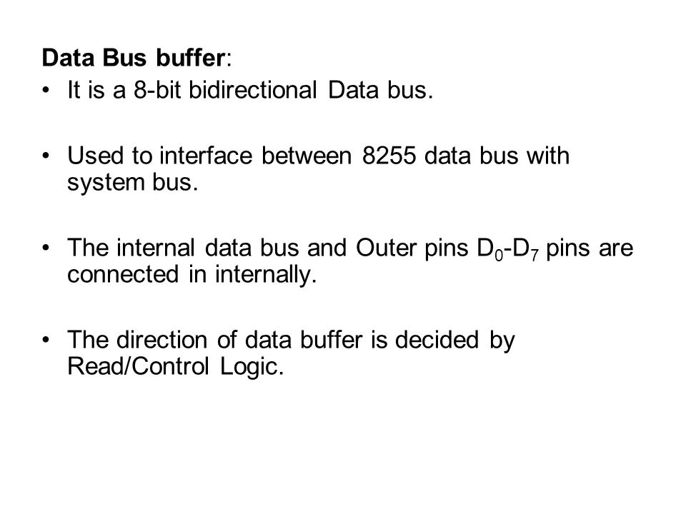 Data Bus buffer: It is a 8-bit bidirectional Data bus. Used to interface between 8255 data bus with system bus.