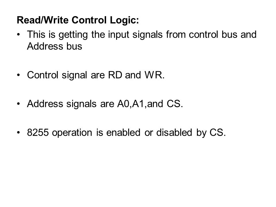 Read/Write Control Logic: