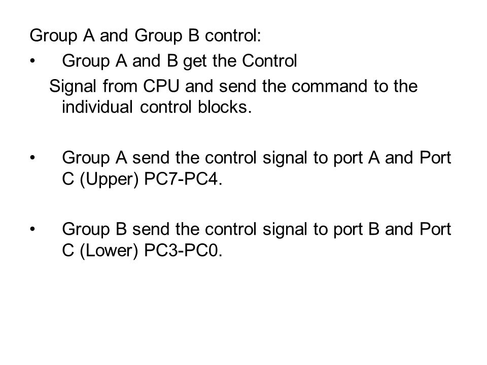 Group A and Group B control: