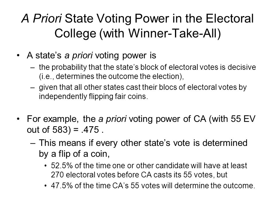 voting power in the electoral college ppt download
