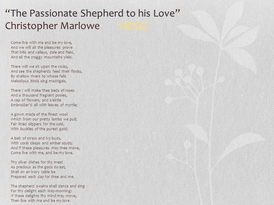 the passionate shepherd to his love literary criticism