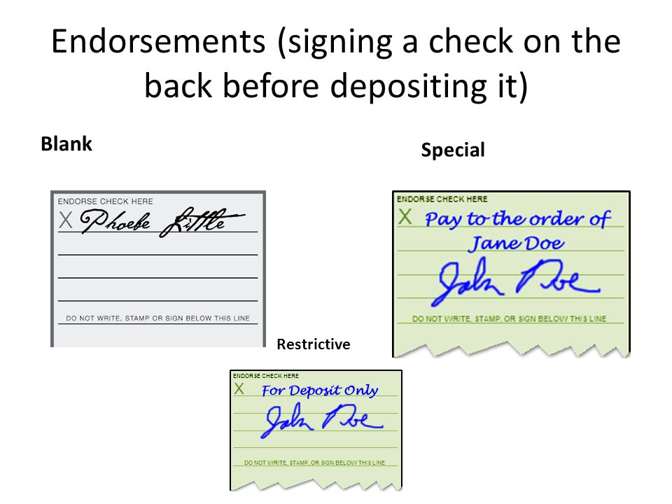 Endorsements+%28signing+a+check+on+the+back+before+depositing+it%29 checking account parts of a check ppt video online download