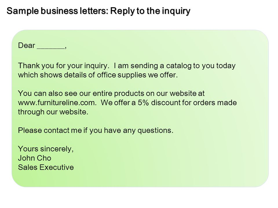 Sample business letters inquiry ppt video online download sample business letters reply to the inquiry expocarfo Images