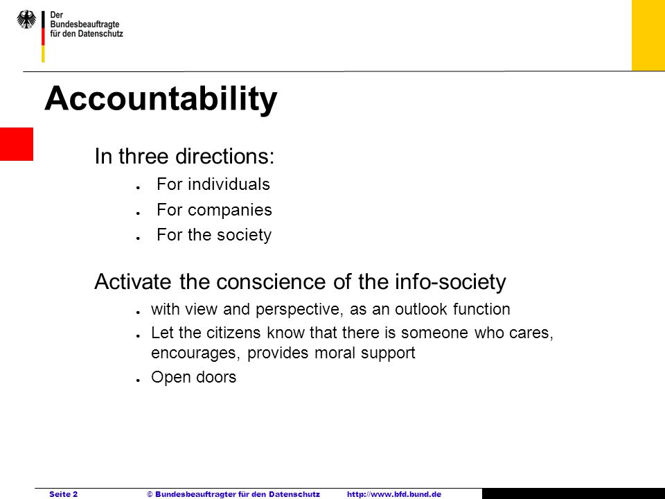 Accountability In three directions: