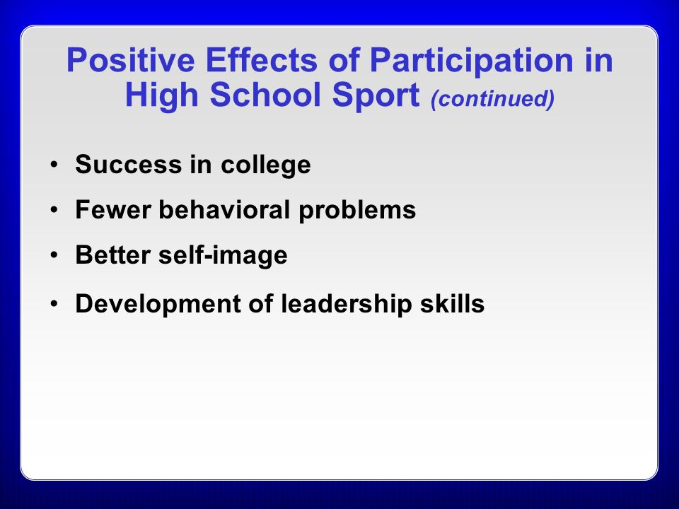 positive effects of sports on students