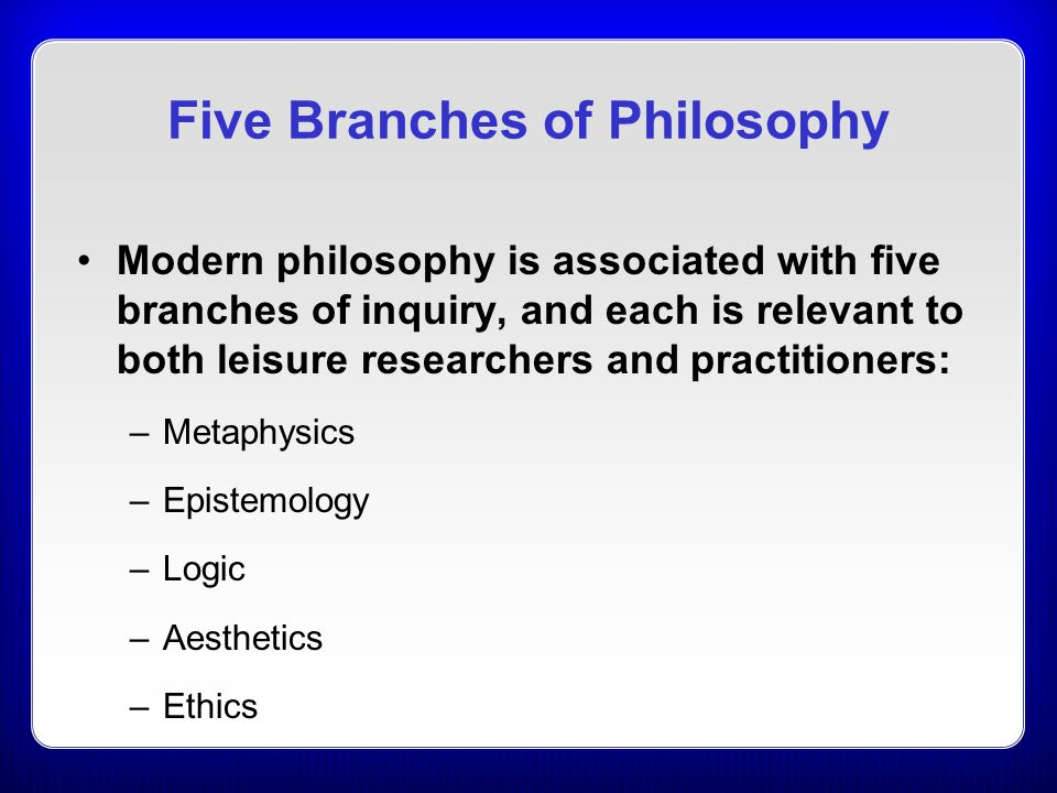 the five branches of philosophy