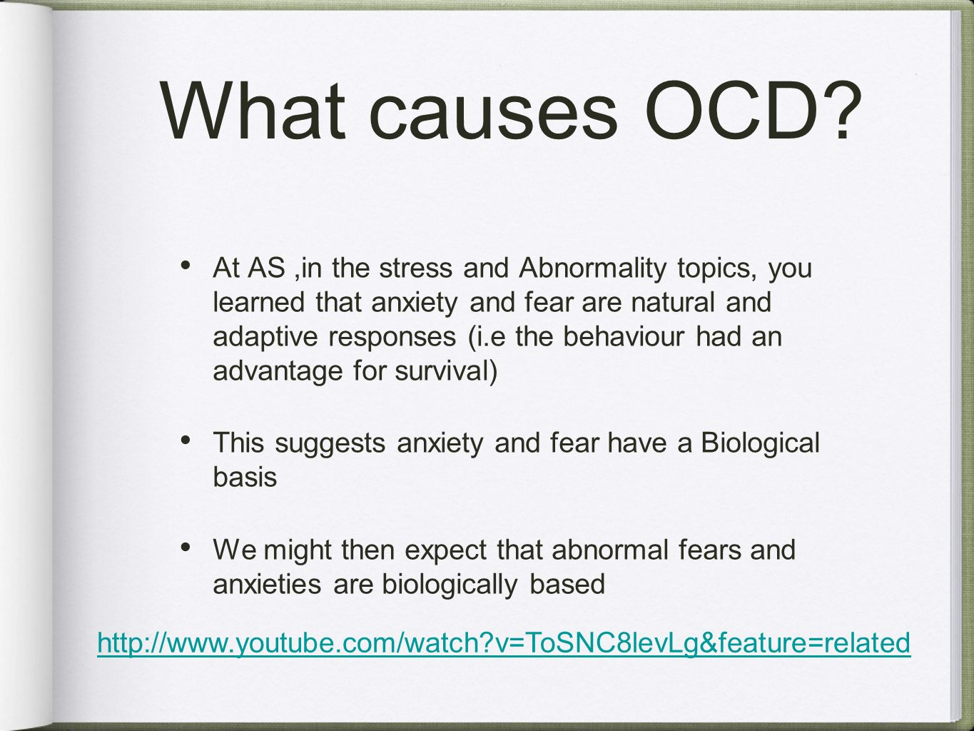 causes of ocd genetics or environment Current scientific thinking holds that ocd results from a confluence of factors--a biological predisposition, environmental factors including experiences and attitudes acquired in childhood.