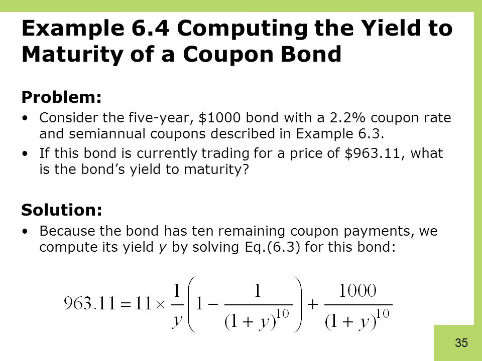 Yield to maturity problems and solutions