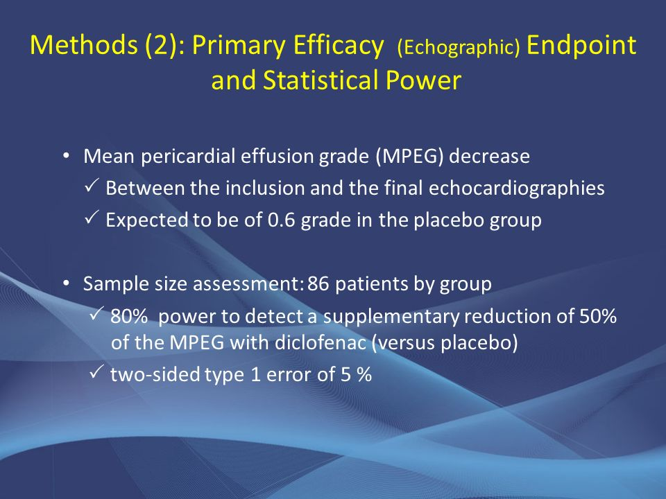 Methods (2): Primary Efficacy (Echographic) Endpoint and Statistical Power