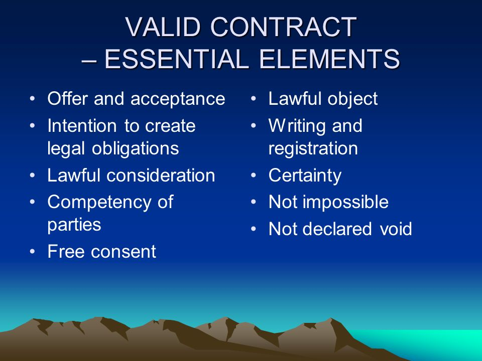 Awesome VALID CONTRACT U2013 ESSENTIAL ELEMENTS