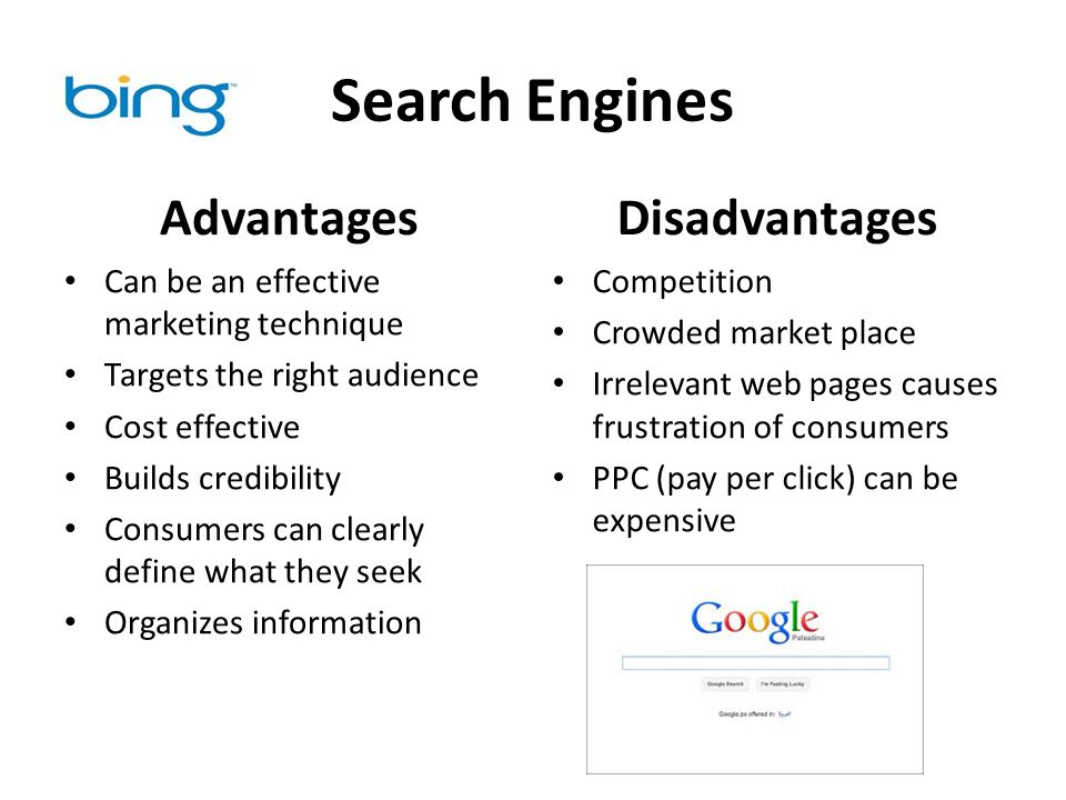 disadvantages of google search engine