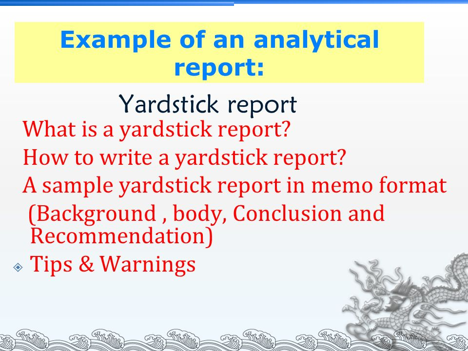 Chapter 7: Informational & Analytical Report - ppt video online download