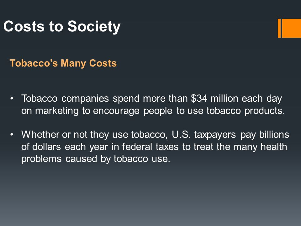 Costs to Society Tobacco's Many Costs