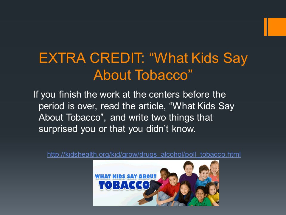 EXTRA CREDIT: What Kids Say About Tobacco