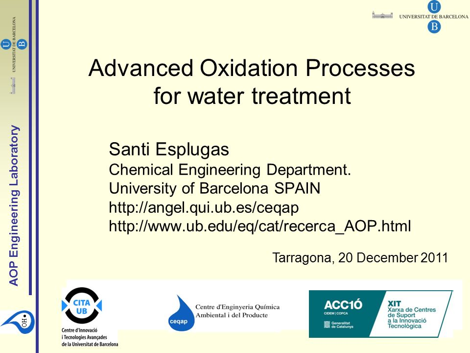Advanced Oxidation Processes For Water Treatment Ppt